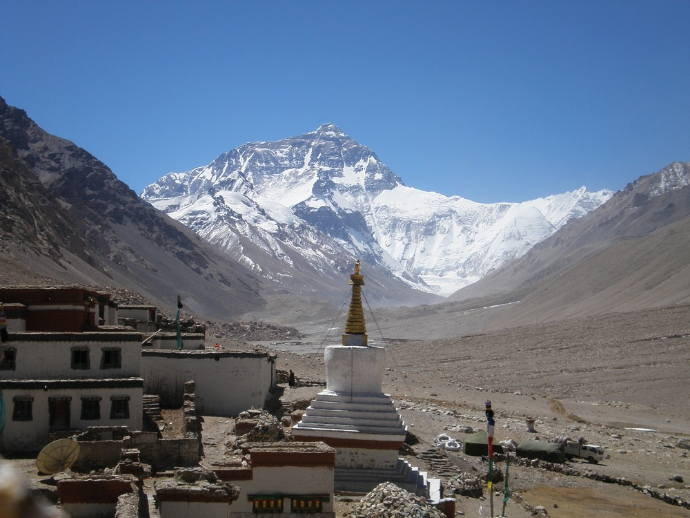 Panorama Rongbuk i Everesta.